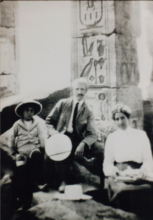 old black and white photograph of James Henry Breasted with his wife and son