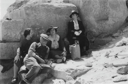 A pre-ARCE picnic at the Unas Pyramid in Saqqara, March 7, 1936. From left to right, Mary B. Reisner (Reisner's daughter), Joseph and Corinna Smith, and Mary Putnam Bronson Reisner (Reisner's wife)